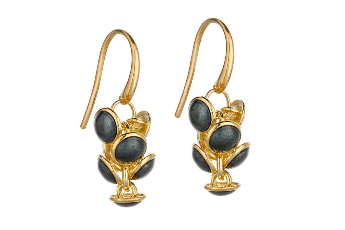 Seashell earrings dark gray, gold plated. KL006A. 1200,-