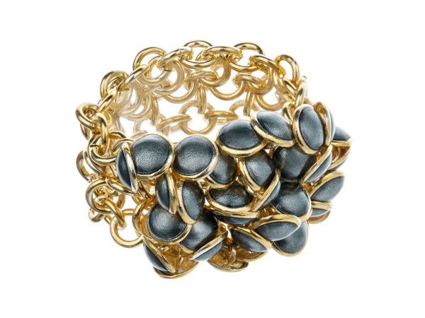 Seashell ring dark gray 3 row, gold plated. KL003A. 3500,-