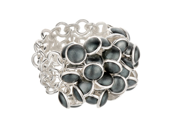 Seashell ring dark gray 3 row. KL003. 3250,-