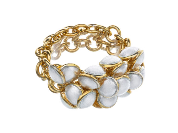 Seashell ring white 2 row, gold plated. KL002A. 2450,-