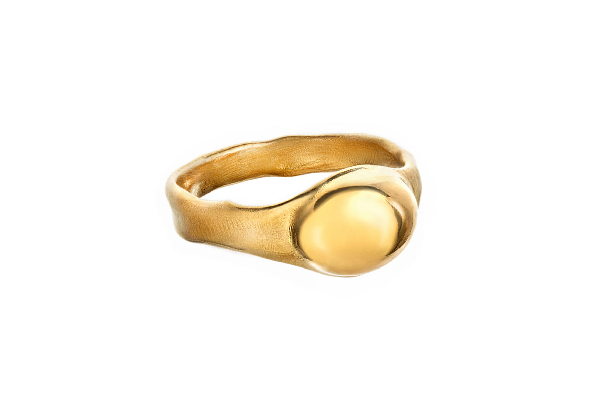 Seaweed ring gold plated. Series 2. 1400,-